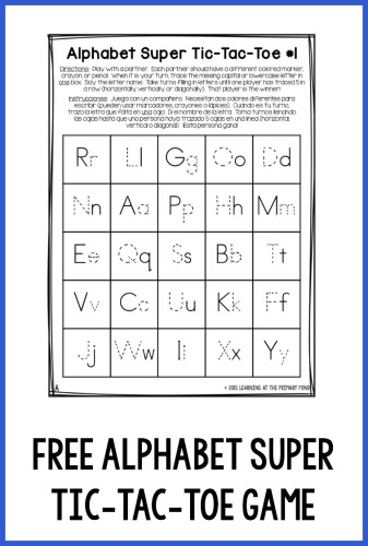 """This free alphabet super tic-tac-toe game makes a fun, no-prep homework assignment!  The student and a parent can play by tracing the missing letter to """"claim"""" a space. The first person to claim five spaces in a row is the winner!"""