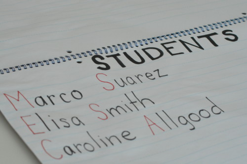 """Students' names on an anchor chart for the """"Student of the Day"""" routine in Kindergarten!"""