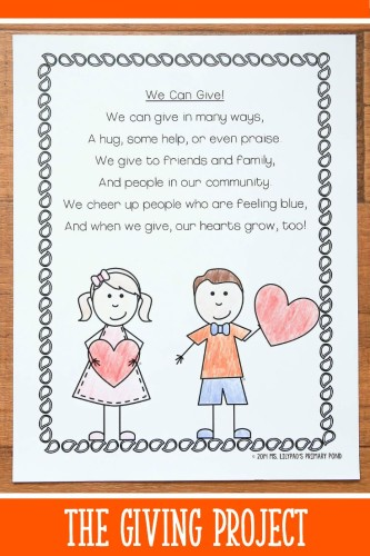 Poem from The Giving Project, a unit for K-2 students about generosity